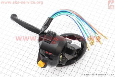 Блок кнопок на руле левый с рычагом для мопедов ALPHA (Viper) купить в Украине