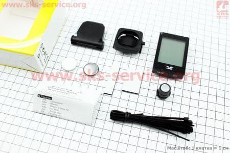 Вело-компьютер 22-функции, беспроводной, 1.9  дисплей с сенсорными кнопками управления, влагозащитный, черный YS-668С