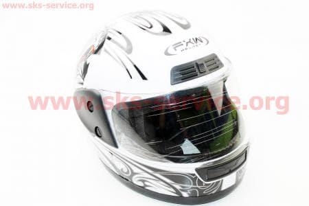 Шлем закрытый HF-109 S- БЕЛЫЙ с рисунком Q09