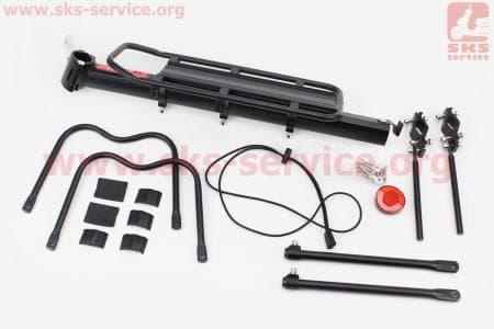 Багажник велосипедный 24 - 26 алюминий, регулируемое крепление, под дисковый тормоз, крепл. за трубу сидения, черный DLRC-101