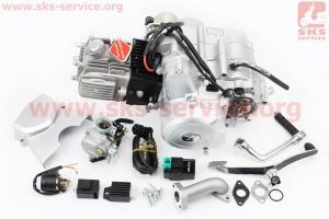 Двигатель мопедный в сборе 110куб (Delta) - механика + карбюратор, коммутатор, катушка зажигания, реле: поворотов, стартера, напряжения для мопеда