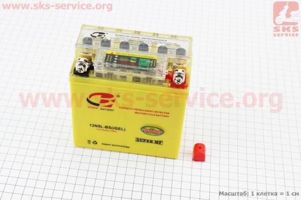 Аккумулятор 5Аh 12N5L-BS (гелевый, желтый) Active 120/60/130мм с ИНДИКАТОРОМ, 2018 (завод OUTDO)
