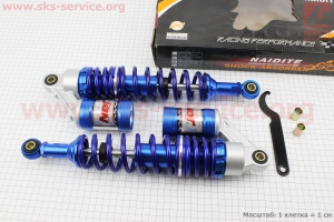 Амортизатор задний JH/CB/CG - 345мм*d60мм (втулка 10;12мм / втулка 10;12мм) газовый регулир., синий к-кт 2шт для мопеда Delta (Viper)
