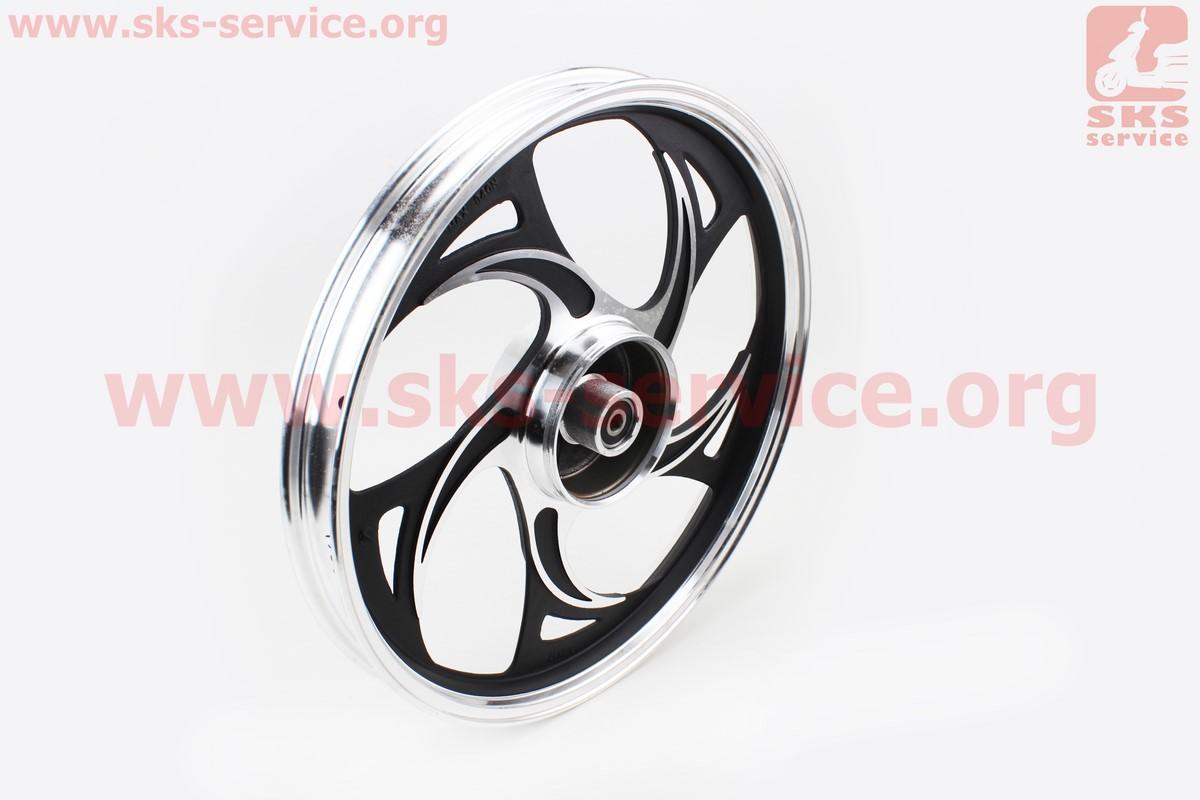 """Диск задний литой 1,6-17 ALPHA/ACTIVE волна"""", черный (ось 12мм), тип 2 для мопеда ALPHA (Viper)"""