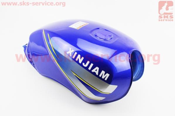 Бак топливный СИНИЙ (под прямоугольную крышку бака, под кран топл. на болты) - надпись XINSIAM для мотоцикла VIPER-125-J (двигатель СВ-125сс-200сс)