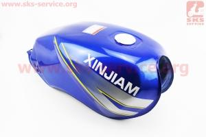 Бак топливный СИНИЙ (под прямоугольную крышку бака, под кран топл. на болты, под датчик топл.) - надпись XINSIAM для мотоцикла VIPER-125-J (двигатель СВ-125сс-200сс)