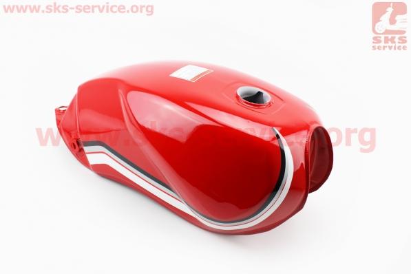Бак топливный КРАСНЫЙ (под прямоугольную крышку бака, под кран топл. на болты) для мотоцикла VIPER-125-J (двигатель СВ-125сс-200сс)
