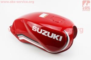 Бак топливный КРАСНЫЙ (под прямоугольную крышку бака, под кран топл. на болты) - надпись SUZUKI для мотоцикла VIPER-125-J (двигатель СВ-125сс-200сс)