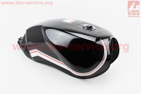Бак топливный ЧЕРНЫЙ (под прямоугольную крышку бака, под кран топл. на болты) для мотоцикла VIPER-125-J (двигатель СВ-125сс-200сс)