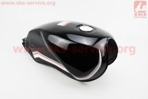 Бак топливный ЧЕРНЫЙ (под прямоугольную крышку бака, под кран топл. на болты), УЦЕНКА (см. фото) для мотоцикла VIPER-125-J (двигатель СВ-125сс-200сс)