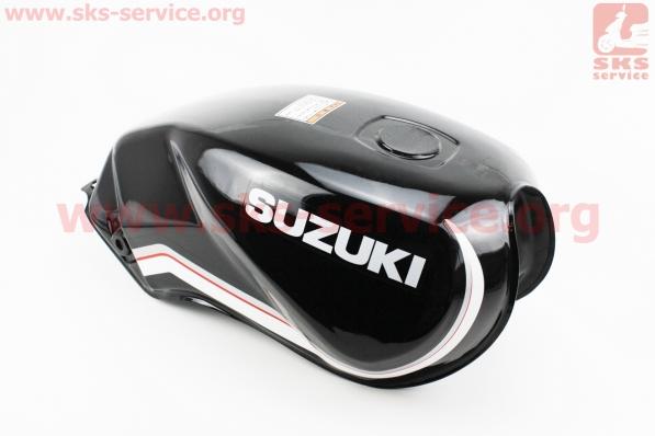 Бак топливный ЧЕРНЫЙ (под прямоугольную крышку бака, под кран топл. на болты) - надпись SUZUKI для мотоцикла VIPER-125-J (двигатель СВ-125сс-200сс)