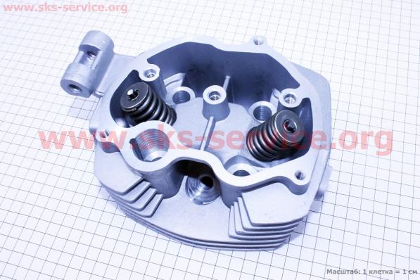 Головка цилиндра 125cc-56,5mm + клапана к-кт на двигатель CG125-250cc (с толкателями), на ZUBR