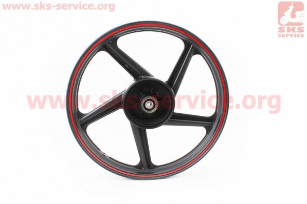 Диск колесный задний литой 18Х1,85 (под резинки) лучи ЧЕРНЫЙ (ось 15мм), тип 1 для мотоцикла VIPER V150A (STREET)