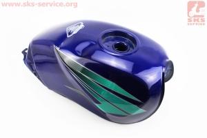 Бак топливный СИНИЙ (под круглую крышку бака, под кран топл. на болты, под датчик топл.), УЦЕНКА (см. фото) для мотоцикла VIPER-125-J (двигатель СВ-125сс-200сс)