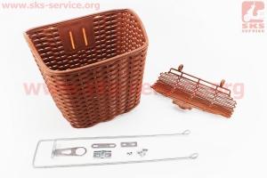 Корзина багажная передняя 28 пластмассовая, коричневая для велосипедов