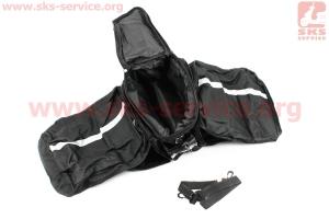 Сумка трансформер на багажник, раскладные боковые карманы, светоотражающие полосы,черно-серая для велосипедов