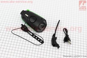 Фонарь передний 1 диод + звонок 2 мелодии, Li-ion 3.7V 1200mAh зарядка от USB, влагозащитный, черно-зеленый FY-058 для велосипедов