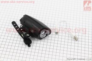 Фонарь передний 2 диода 250 lumen + звонок 5 мелодии, Li-ion 3.7V 1200mAh зарядка от USB, влагозащитный, черный T6 для велосипедов