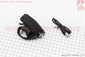 Фонарь передний 1 диод 250 lumen, Li-ion 3.7V 1200mAh зарядка от USB, с сенсорной кнопкой управления, влагозащитный, черный MX-026 для велосипедов