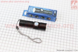 Фонарь передний 1 диод алюминиевый, Li-ion 3.7V 500mAh зарядка от USB, влагозащитный, черный для велосипедов