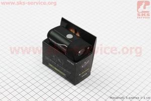 Фонарь передний 1 диод алюминиевый, Li-ion 3.7V 850mAh зарядка от USB, влагозащитный, черный HYD-018 для велосипедов