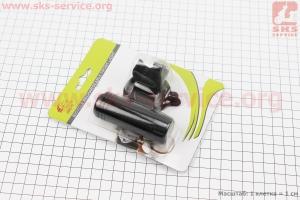 Фонарь передний 1 диод 120 lumen алюминиевый, Li-ion 3.7V 600mAh зарядка от USB, влагозащитный, черный JY-7012FA для велосипедов