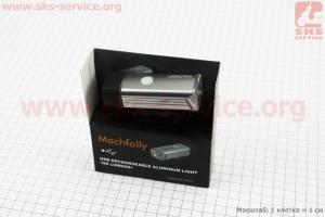 Фонарь передний 1 диод 180 lumen алюминиевый, Li-ion 3.7V 1200mAh зарядка от USB, влагозащитный, серый MC-QD001 для велосипедов