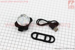 Фонарь передний 3 диода 20 lumen, Li-ion 3.7V 650mAh зарядка от USB, влагозащитний, HJ-030 УЦЕНКА, (не работает 1 диод) для велосипедов