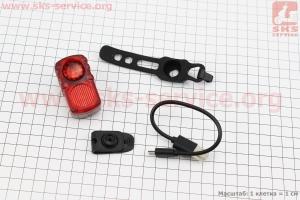 Фонарь задний 2 диода, Li-ion 3.7V 550mAh зарядка от USB, влагозащитний, AQY-099 для велосипедов