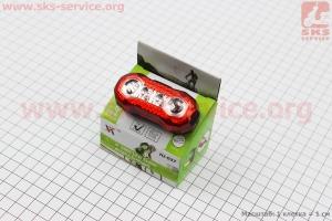 Фонарь задний 4 диода 100 lumen, Li-ion 3.7V 630mAh зарядка от USB, влагозащитный, HJ-037 для велосипедов