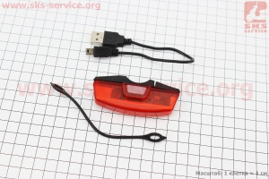 Фонарь задний 16 диодов 30 lumen, Li-ion 3.7V 500mAh зарядка от USB, влагозащитный для велосипедов