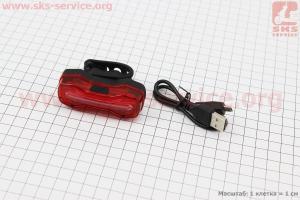 Фонарь задний 16 диодов 100 lumen, Li-ion 3.7V 500mAh зарядка от USB, влагозащитный, DMFL-526 для велосипедов