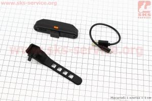 Фонарь задний 110 lumen, Li-ion 3.7V 500mAh зарядка от USB, влагозащитный, черный FXH-0105 для велосипедов