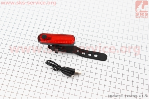 Фонарь задний 50 lumen, Li-ion 3.7V 330mAh зарядка от USB, влагозащитный, 056 для велосипедов