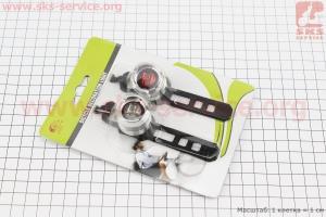 Фонарь передний 1 диод + задний 1 диод, алюминиевые к-кт, хром JY-3006 для велосипедов