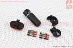 Фонарь передний 5 диодов + задний 5 диодов к-кт, черный JY-586-1+603Т-G для велосипедов