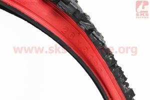 """Шина 26""""x2,125 (54-559) шипованная (красный борт) Н-531 для велосипедов"""