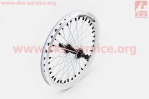 """Колесо 16"""" переднее """"капля"""" обод алюминиевый, втулка 11Gx36H в сборе, крепл. гайка, белое """"ZX Gravity"""" для велосипеда"""