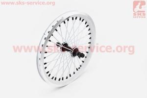 """Колесо 16 переднее капля"""" обод алюминиевый, втулка 11Gx36H в сборе, крепл. гайка, белое """"ZX Gravity"""" для велосипеда"""