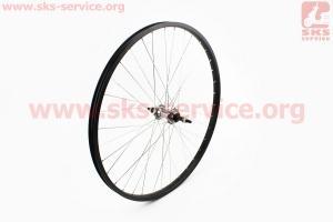 Колесо 26 заднее МТВ обод алюминиевый, втулка 14Gх36Н в сборе, под вольнобег, крепл. гайка, черное для велосипеда