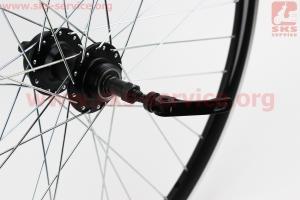 """Колесо 26"""" заднее MTB """"капля"""" обод и втулка алюминиевые 14Gx36H в сборе, пром-подшипники 6200 2RS, под вольнобег, под диск. тормоз, крепл. эксцентрик для велосипеда"""