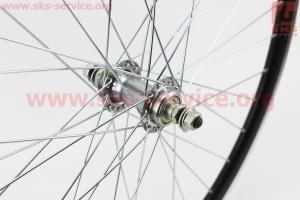 "Колесо 26"" переднее MTB ""капля"" обод алюминиевый, втулка 14Gx36H в сборе, под диск. тормоз (резьба), крепл. гайка ""SCORPION"" для велосипеда"