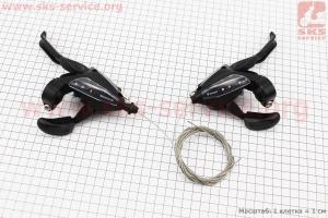 Переключатель с рычагом манетка лев.(3ск)+прав.(8ск) к-кт, черные ST-EF 500 для велосипеда