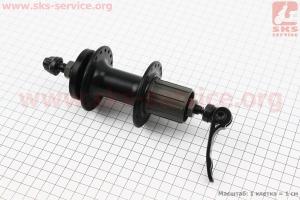 Втулка задняя MTB алюминиевая 14Gx36H под кассету 8-9-10зв, диск. тормоз, крепл. эксцентрик, черная SF-B27R для велосипеда