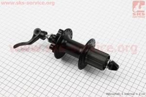 Втулка задняя MTB алюминиевая 14Gx36H под кассету 8-9-10зв, диск. тормоз, 2 пром-подшипники 6000 2RS/6200 2RS , крепл. эксцентрик, черная SF-B12R для велосипеда