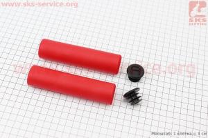 Рукоятки руля 130мм, пенорезиновые к-кт, красные для велосипеда
