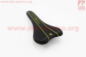 Сиденье на MTB, черно-серо-желтое VL-3390 для велосипеда