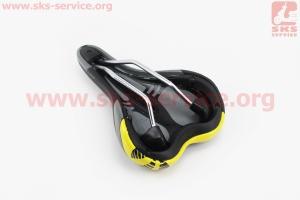 Сиденье на MTB, черно-серо-желтое VL-3126 для велосипеда