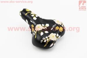 Сиденье, черное (рисунок цветы), BSK-N663 для велосипеда