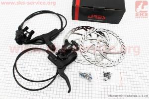 Тормоз дисковый гидравлический передний (адаптер F160/R140мм) + задний (адаптер F180/R160мм) к-кт, черный для велосипеда